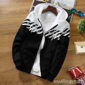 秋冬季加絨加厚開衫衛衣男士韓版修身青少年連帽衫棒球服男士外套 美芭