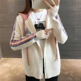 外套女 連帽針織衫開衫女韓版寬鬆長袖短款針織毛衣秋季外套  傑克型男館