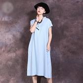 短袖連身裙-V領純色棉麻盤扣女長裙2色73vu22【巴黎精品】