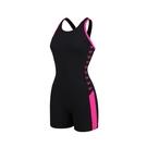 (C3)SPEEDO 女 運動泳衣 Boom Logo Splice 平口四角 連身泳裝 SD812936B344黑粉 [陽光樂活]