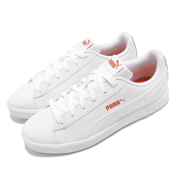 Puma 休閒鞋 UP Wns 白 橘 女鞋 皮革鞋面 後跟大LOGO 運動鞋 【ACS】 37303402