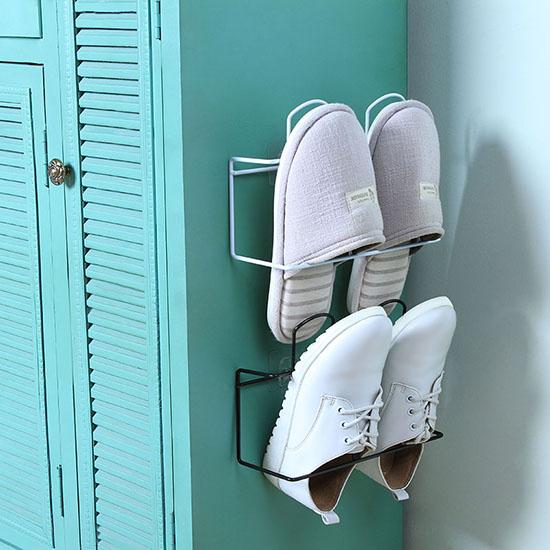 ◄ 生活家精品 ►【Y003-1】雙層壁掛式鞋架 掛架 壁掛式壁掛鞋架 浴室 拖鞋架 家用 客廳 鞋托