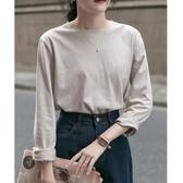 素色 純色白色純棉打底衫女秋冬洋氣百搭長袖t恤寬鬆內搭上衣秋季-米蘭街頭