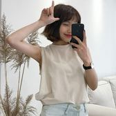 夏裝2018新款韓版學生bf百搭純色寬鬆圓領顯瘦無袖打底背心女上衣
