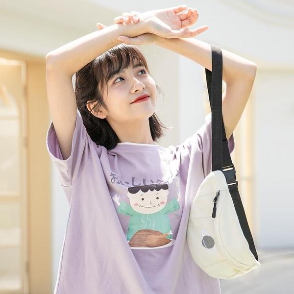 日系上衣 原宿港風女裝上衣女紫色日系短袖T恤夏季寬鬆正韓學生-Ballet朵朵