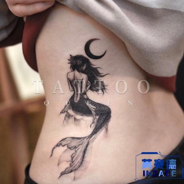 【買一送一】黑白月亮月牙美人魚尾巴少女紋身貼刺青貼【英賽德3C數碼館】