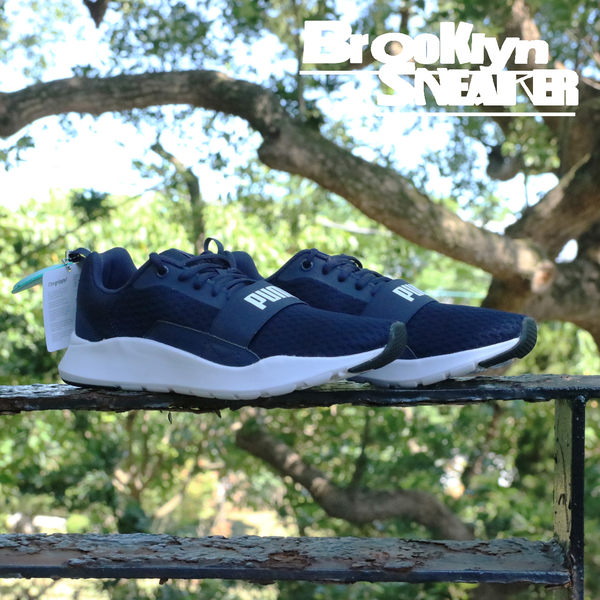 Puma Wired 深藍 網布 繃帶 透氣 慢跑 情侶鞋 男女(布魯克林)  36697003