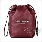 YSL Saint Laurent銀字LOGO羔羊皮束口肩背水桶包(酒紅)