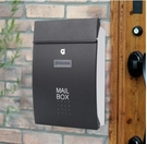 nc-信箱室外掛牆歐式別墅戶外防雨防水家用信報箱不銹鋼MAILBOX郵箱 黑色門-白箱體