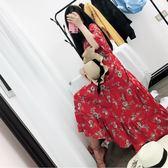 裙子女裝夏裝正韓碎花紅色雪紡洋裝連衣裙慵懶風沙灘長裙 森雅誠品