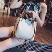 手提包包女潮韓版百搭斜背包簡約時尚側背包大容量水桶包 黛尼時尚精品