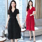 洋裝 輕熟風 淑女裙 夏裝女氣質法式小眾性感禮服黑色V領連身裙子仙氣中長蛋糕裙T105依佳衣