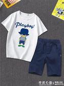 童裝男童套裝夏裝兒童短袖T恤中大童衣服純棉短褲韓版潮 ◣怦然心動◥