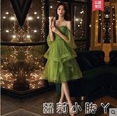 宴會綠色小晚禮服公主裙平時可穿高級質感氣質連衣裙小個子短款女 NMS蘿莉新品