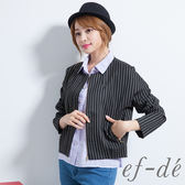 【ef-de】激安 棉質短版七分袖直紋罩衫外套(黑)