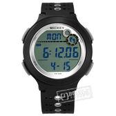 Disney 迪士尼 / MK-15042B1 / 米奇系列 運動記步 計時碼錶 兒童錶 卡通錶 電子 橡膠手錶 黑色 44mm