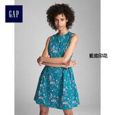 Gap女裝 時尚舒適印花無袖洋裝 308490-藍底印花