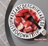 爆款INS簡約歐美兒童黑白字母餐盤 密胺無毒防摔早教學習餐具餐盤【時尚家居館】