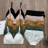 夏季新款學生少女無鋼圈小胸聚攏文胸薄款美背蕾絲內衣套裝女