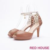 【RED HOUSE-蕾赫斯】羅馬簍空寶石高跟鞋(共兩色)