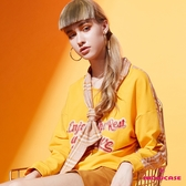【SHOWCASE】格紋後拼接綁帶領結縮襬長袖棉質T恤(黃)