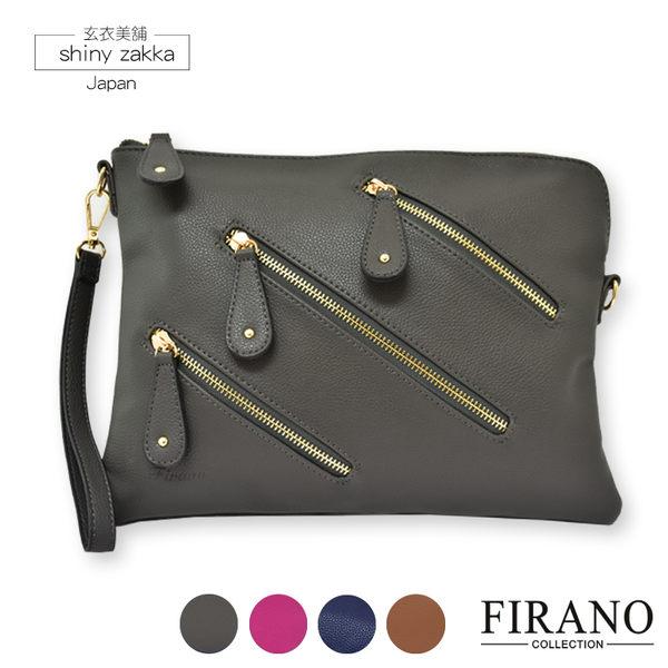 手拿包-日本品牌包FIRANO-時尚拉鍊造型手拿包-可手拿/側背/斜背-灰色-玄衣美舖
