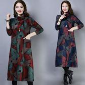 秋冬新款復古文藝印花抽象方格中長款寬鬆毛呢高領打底裙洋裝