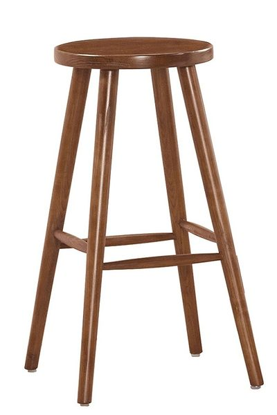 【森可家居】賽克淺胡桃色吧台圓椅(單只) 8ZX982-8 實木