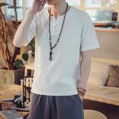 唐裝 夏季新款中國風棉麻短袖男青年盤扣V領T恤中式透氣亞麻唐裝男上衣 薇薇