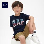 Gap男童 基本款純棉徽標圓領短袖T恤 467634-海軍淺藍