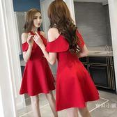 連身裙 新品夜場氣質小禮服掛脖顯瘦收腰露肩冷淡風連身裙夜店女S-XL 紅黑色可選