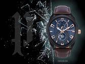 【時間道】POLICE都會型男大錶徑腕錶 / 藍面黑殼深咖皮帶(15443JSB-03A)免運費