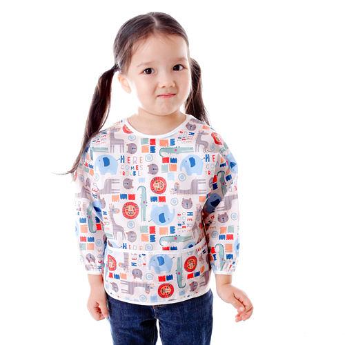 Baby City 防水長袖圍兜 (1-3歲)-卡其色動物