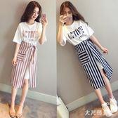 兩件式洋裝 2019夏季新款韓版晚晚風時尚少女港味收腰顯瘦胖妹妹 df14352【大尺碼女王】