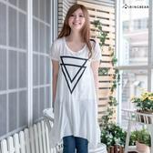 長版上衣--韓風簡潔三角形幾何圖印花短袖A字下擺長上衣(白.黑S-2L)-D316眼圈熊中大尺碼◎