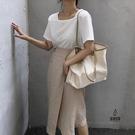 手提包女簡約撞色帆布包大容量休閒後背包【愛物及屋】