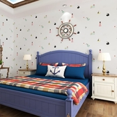 牆紙藍色地中海兒童房牆紙男孩女孩臥室無紡布壁紙卡通帆船背景牆男生 喵小姐