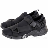 PRADA Neoprene 潛水布料織帶釦運動鞋(女款/黑色) 1840580-01