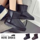 [Here Shoes]冬季皮面防潑水雪地靴短筒保暖雪地止滑雪靴短靴情侶鞋(另有女加大尺碼)─KW8091
