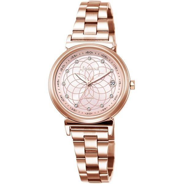 【LICORNE力抗錶】永恆時光真鑽系列 宮廷魅麗繁星手錶 (玫瑰金/粉紅 LT126LRPS)
