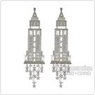 kate spade經典帝國大廈設計鑽鑲飾穿式耳環(銀)