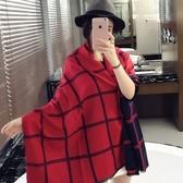 羊毛絨長披肩-秋冬長款英倫格子女圍巾4色73hy8【時尚巴黎】
