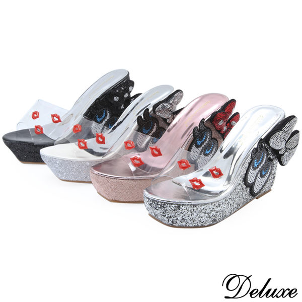 【Deluxe】俏皮紅脣閃耀蝴蝶大眼睛厚底楔形涼鞋(黑.粉.白.銀)