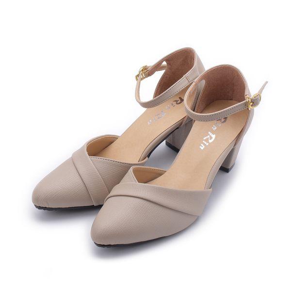 RIN RIN 尖頭踝帶粗跟鞋 米 女鞋 鞋全家福