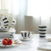 川島屋 黑白赫本風復古系列咖啡杯碟馬克杯蛋糕盤下午茶套裝CJ-29YXS『小宅妮時尚』