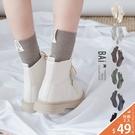 中筒襪 英文布標直坑條紋彈性棉料堆堆襪-BAi白媽媽【308388】