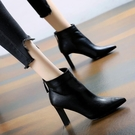 高跟短靴 短靴女高跟馬丁靴2020秋冬新款簡約粗跟通勤尖頭后拉鏈粗跟棉靴女 漫步雲端