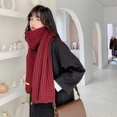 圍巾 女冬季可愛少女韓版百搭ins潮學生針織毛線情侶紅色圍脖日系