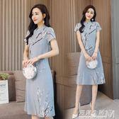 夏季新款中國民族風印花中式改良立領短袖旗袍連身裙  遇見生活