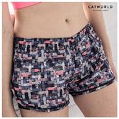 Catworld 色塊塗鴉防走光雙層運動短褲【14001120】‧S/M/L/XL